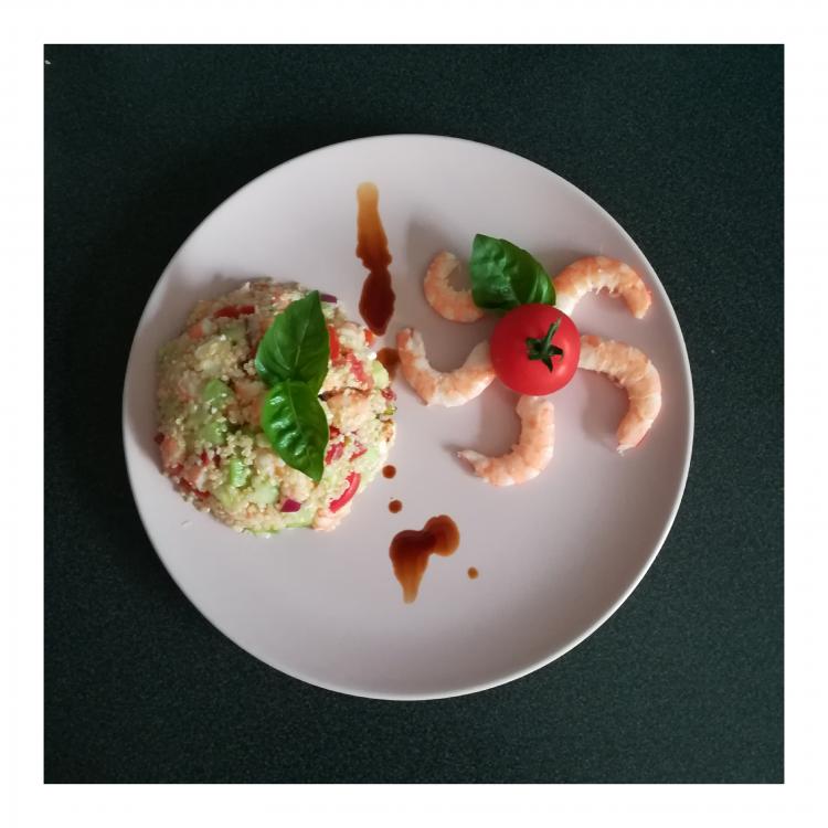 Salade de quinoa et crevettes